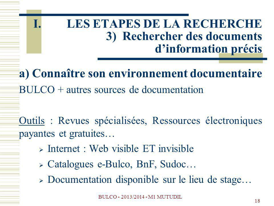BULCO - 2013/2014 - M1 MUTUDIL 18 a) Connaître son environnement documentaire BULCO + autres sources de documentation Outils : Revues spécialisées, Re