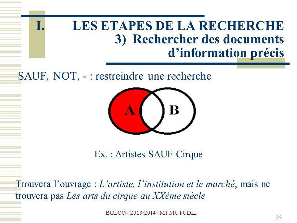 BULCO - 2013/2014 - M1 MUTUDIL 23 SAUF, NOT, - : restreindre une recherche Ex. : Artistes SAUF Cirque Trouvera louvrage : Lartiste, linstitution et le