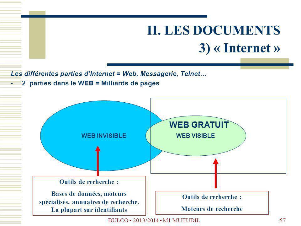BULCO - 2013/2014 - M1 MUTUDIL57 Les différentes parties dInternet = Web, Messagerie, Telnet… -2 parties dans le WEB = Milliards de pages WEB INVISIBLE WEB VISIBLE WEB GRATUIT Outils de recherche : Bases de données, moteurs spécialisés, annuaires de recherche.
