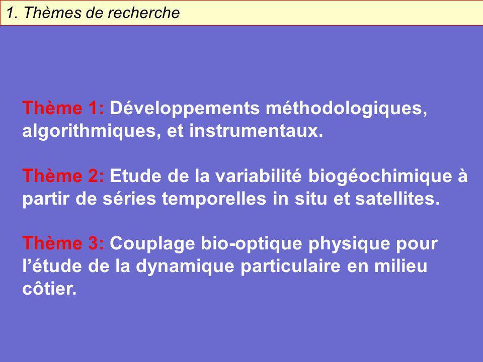 1. Thèmes de recherche Thème 1: Développements méthodologiques, algorithmiques, et instrumentaux. Thème 2: Etude de la variabilité biogéochimique à pa