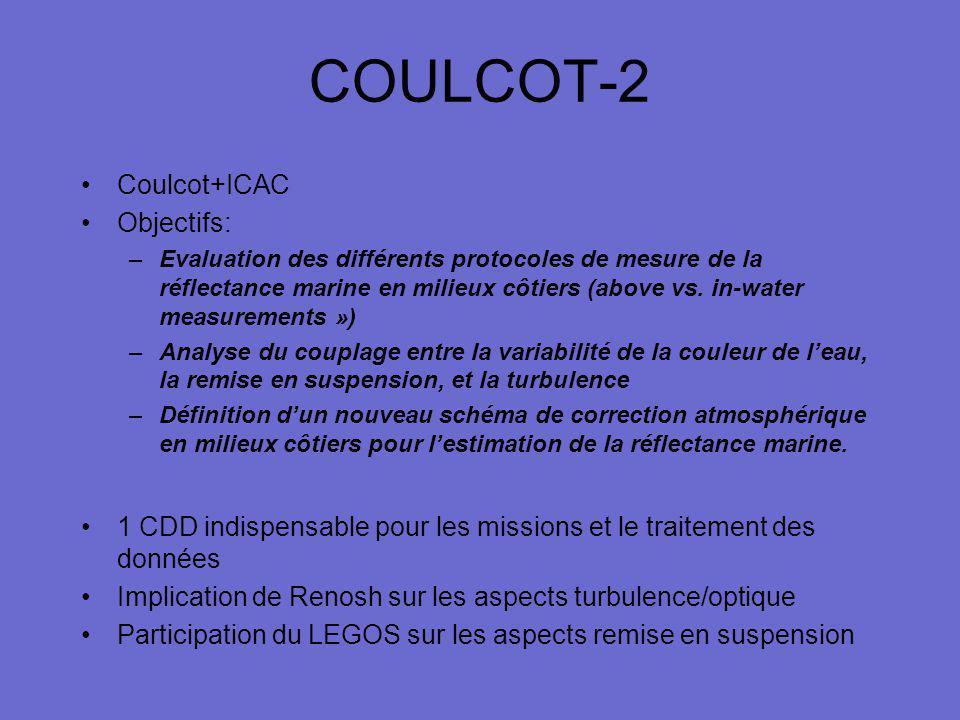COULCOT-2 Coulcot+ICAC Objectifs: –Evaluation des différents protocoles de mesure de la réflectance marine en milieux côtiers (above vs. in-water meas