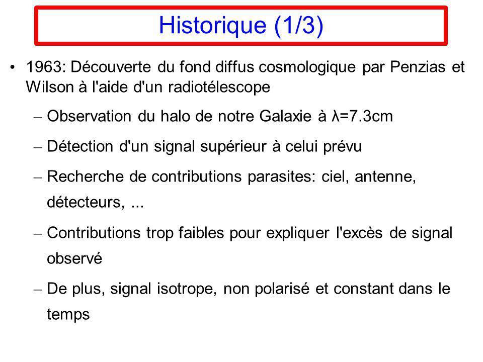 Historique (1/3) 1963: Découverte du fond diffus cosmologique par Penzias et Wilson à l'aide d'un radiotélescope – Observation du halo de notre Galaxi