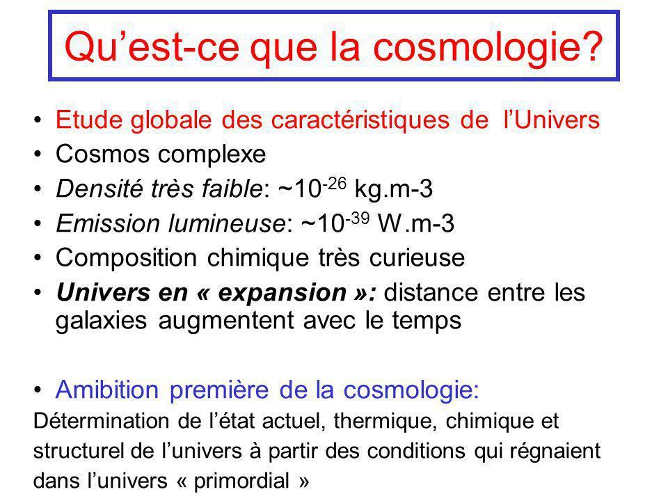 Etude globale des caractéristiques de lUnivers Cosmos complexe Densité très faible: ~10 -26 kg.m-3 Emission lumineuse: ~10 -39 W.m-3 Composition chimi