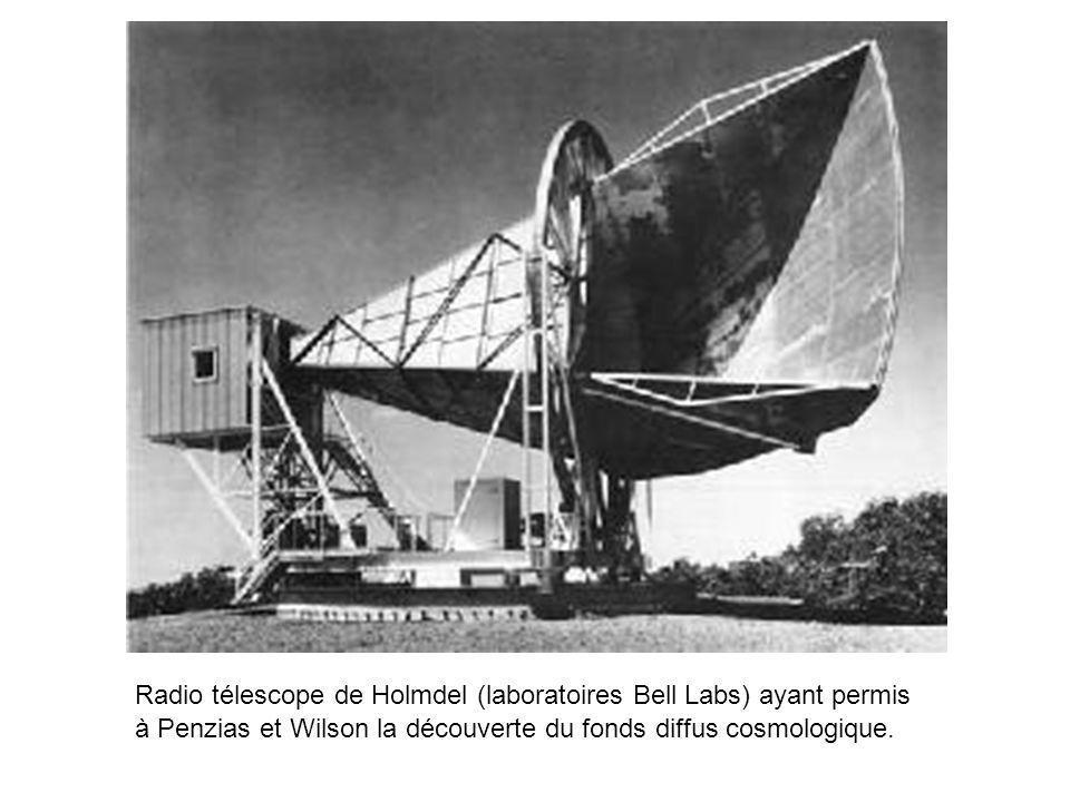 Radio télescope de Holmdel (laboratoires Bell Labs) ayant permis à Penzias et Wilson la découverte du fonds diffus cosmologique.