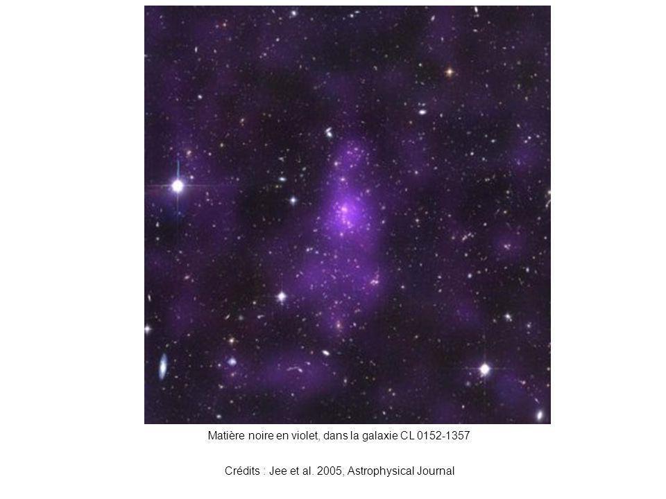 Matière noire en violet, dans la galaxie CL 0152-1357 Crédits : Jee et al. 2005, Astrophysical Journal