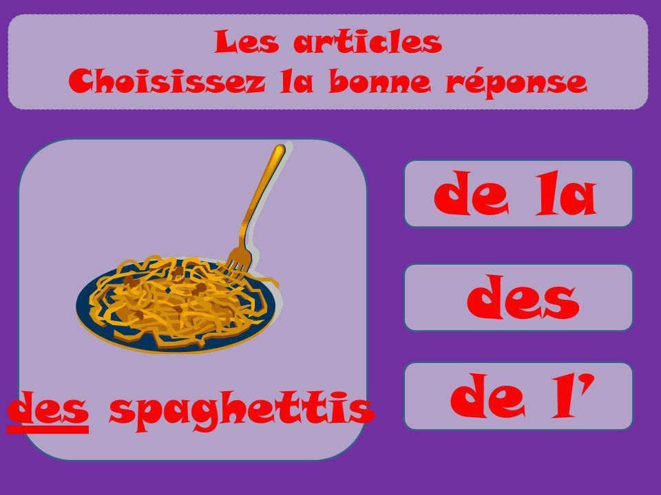 de la des de l des spaghettis Les articles Choisissez la bonne réponse