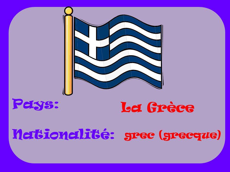La Grèce grec (grecque) Pays: Nationalité: