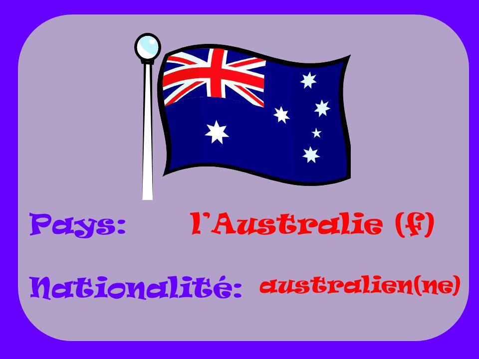 Pays: Nationalité: lAustralie (f) australien(ne)