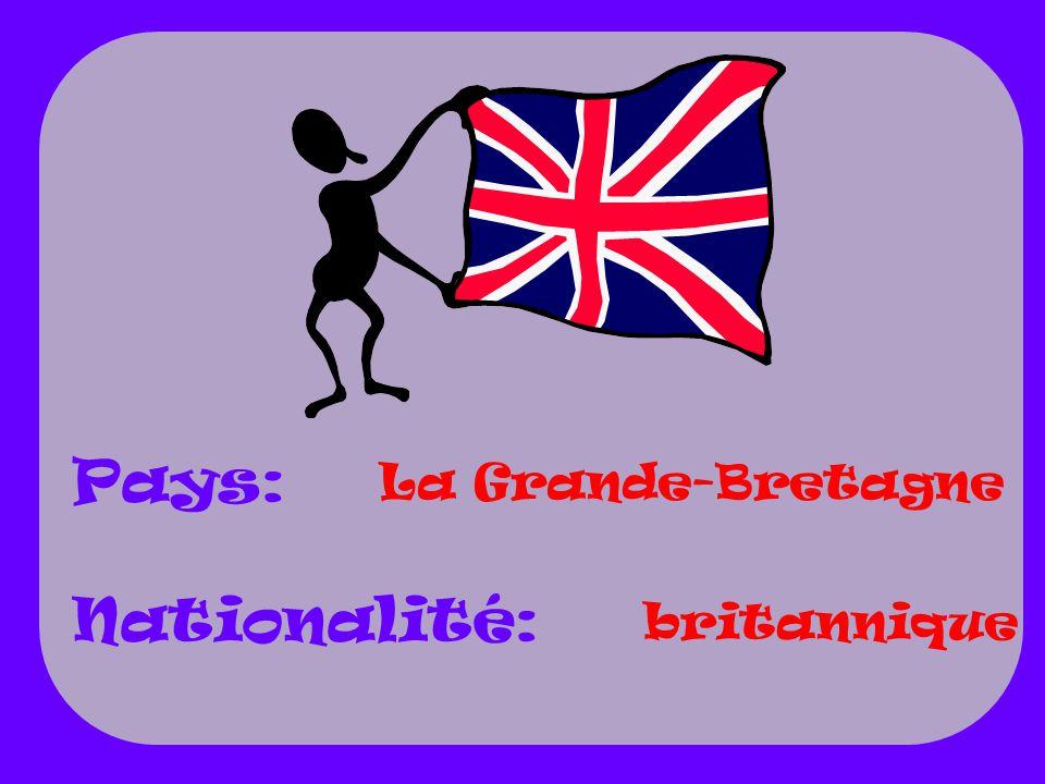 La Grande-Bretagne britannique Pays: Nationalité: