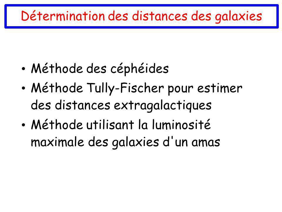 Détermination des distances des galaxies Méthode des céphéides Méthode Tully-Fischer pour estimer des distances extragalactiques Méthode utilisant la