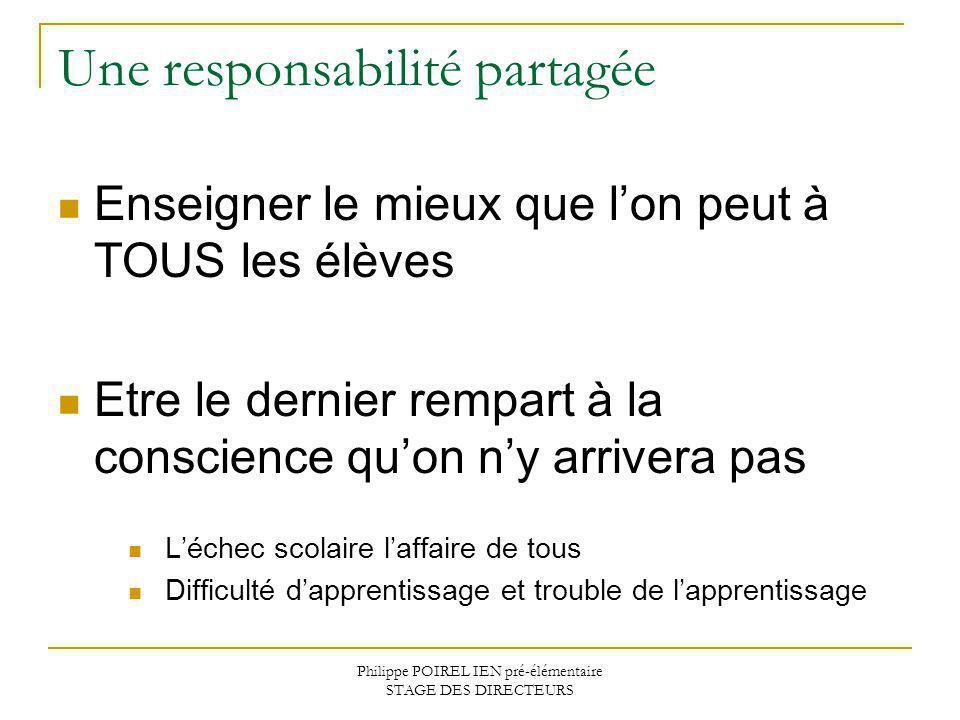 Philippe POIREL IEN pré-élémentaire STAGE DES DIRECTEURS Une responsabilité partagée Enseigner le mieux que lon peut à TOUS les élèves Etre le dernier