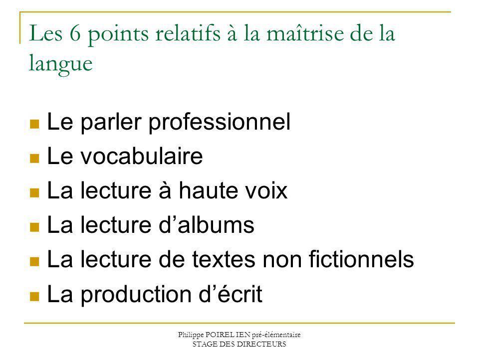 Philippe POIREL IEN pré-élémentaire STAGE DES DIRECTEURS Les 6 points relatifs à la maîtrise de la langue Le parler professionnel Le vocabulaire La le