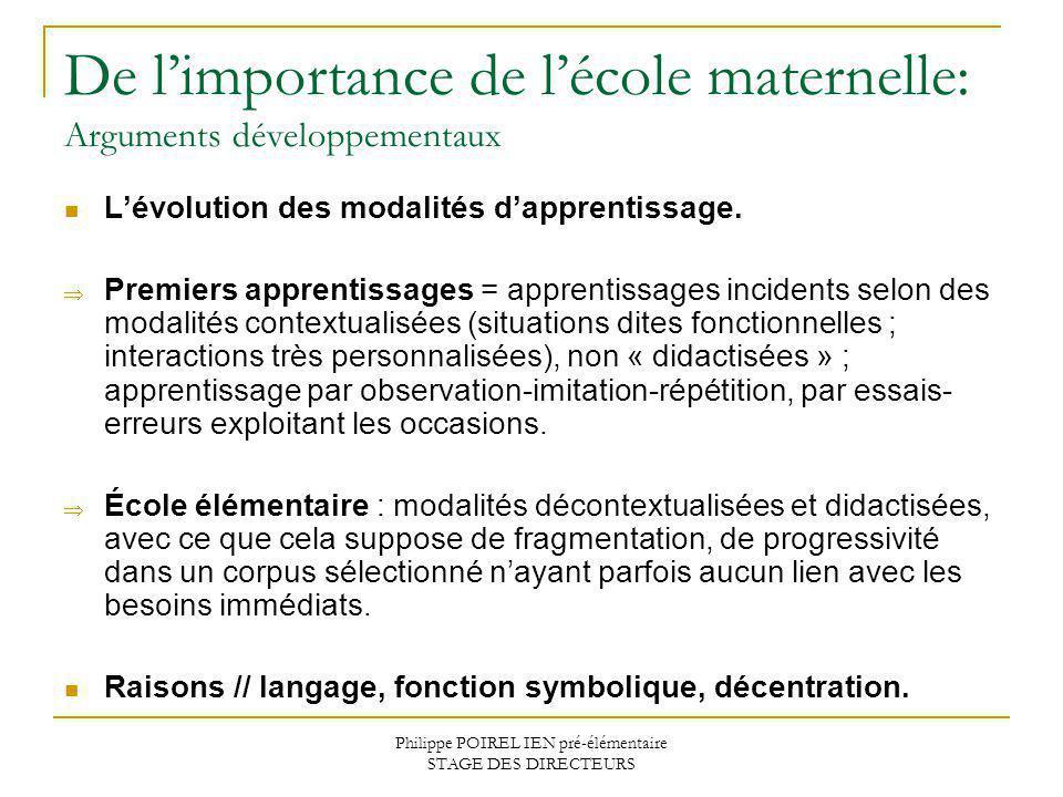 Philippe POIREL IEN pré-élémentaire STAGE DES DIRECTEURS De limportance de lécole maternelle: Arguments développementaux Lévolution des modalités dapp