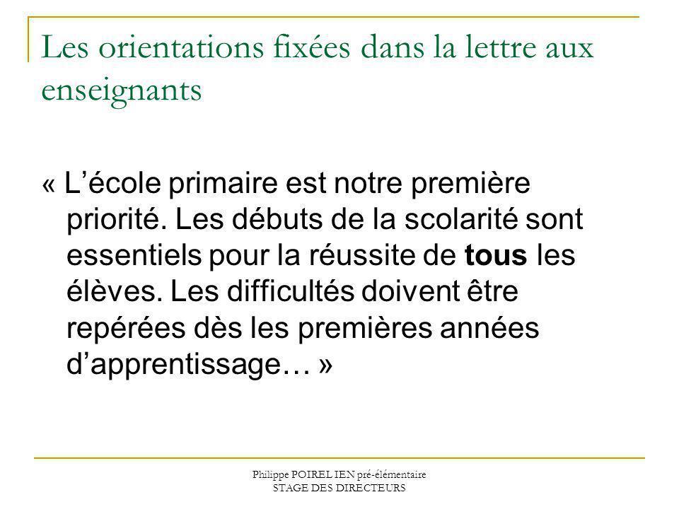 Philippe POIREL IEN pré-élémentaire STAGE DES DIRECTEURS Les orientations fixées dans la lettre aux enseignants « Lécole primaire est notre première p