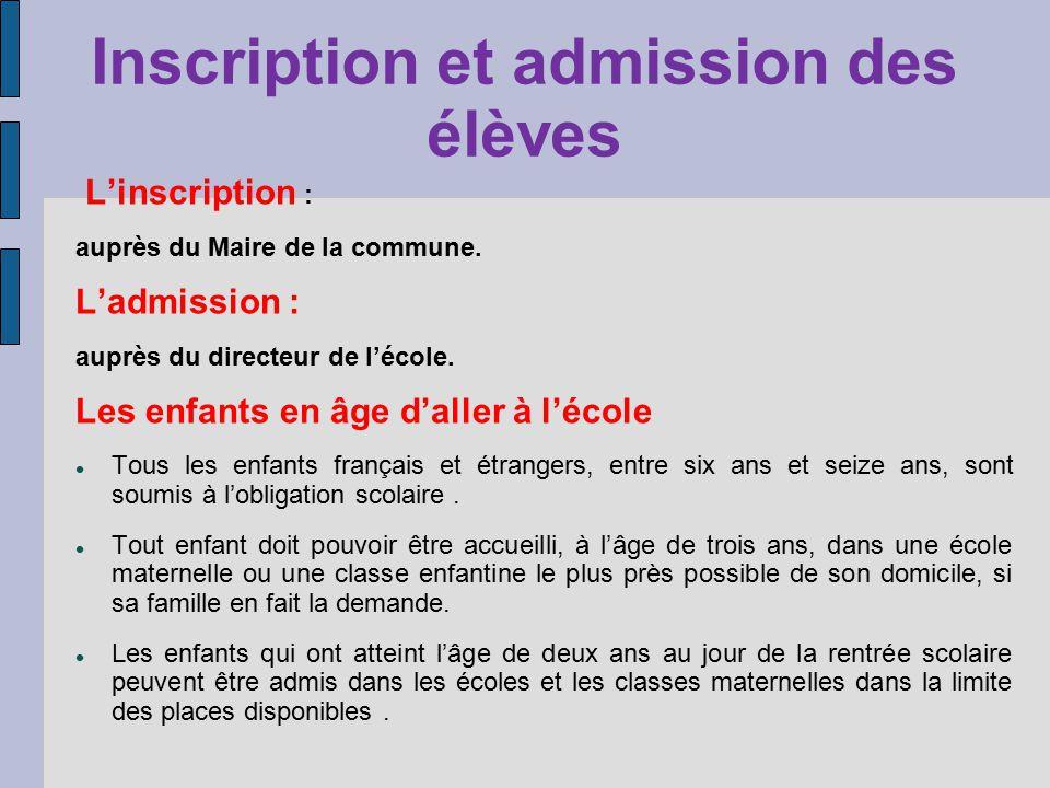 Inscription et admission des élèves Linscription : auprès du Maire de la commune. Ladmission : auprès du directeur de lécole. Les enfants en âge dalle