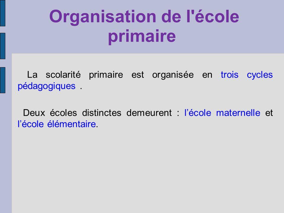 Organisation de l'école primaire La scolarité primaire est organisée en trois cycles pédagogiques. Deux écoles distinctes demeurent : lécole maternell