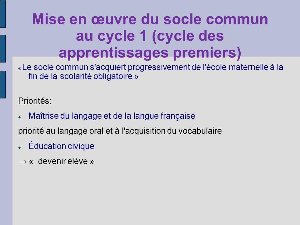 Mise en œuvre du socle commun au cycle 1 (cycle des apprentissages premiers) « Le socle commun s'acquiert progressivement de l'école maternelle à la f