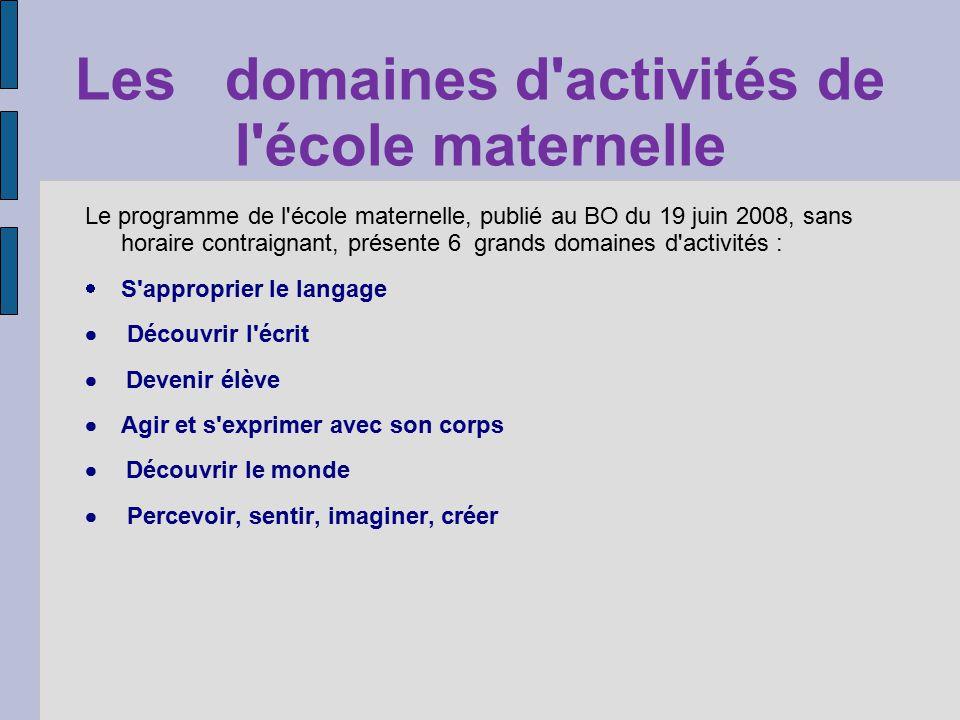 Les domaines d'activités de l'école maternelle Le programme de l'école maternelle, publié au BO du 19 juin 2008, sans horaire contraignant, présente 6