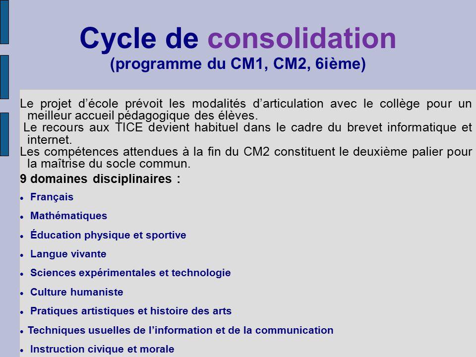 Cycle de consolidation (programme du CM1, CM2, 6ième) Le projet décole prévoit les modalités darticulation avec le collège pour un meilleur accueil pédagogique des élèves.