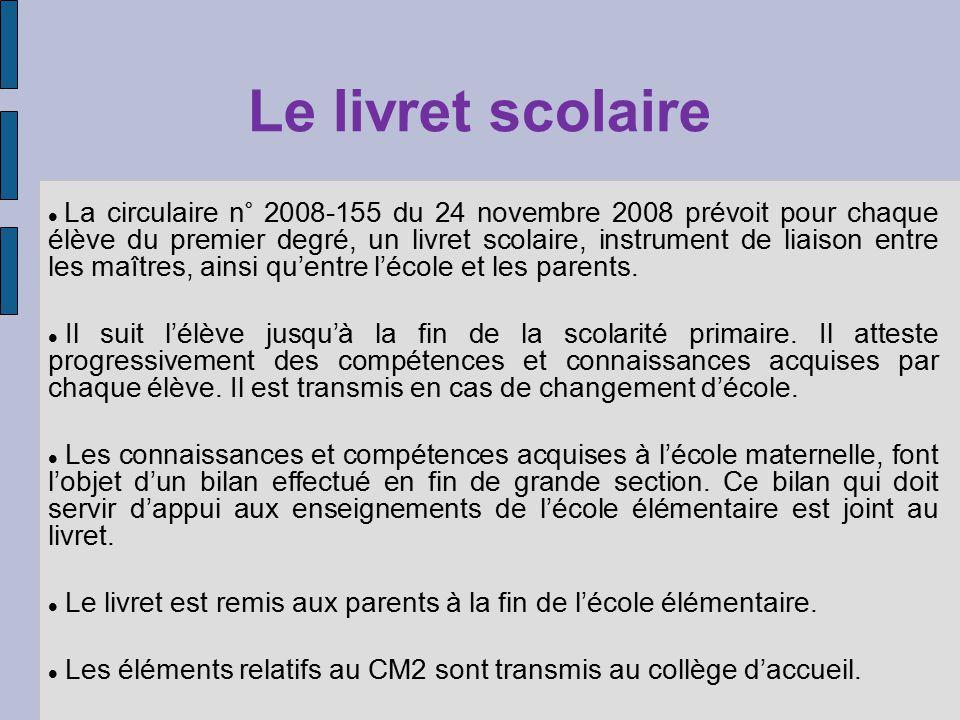 Le livret scolaire La circulaire n° 2008-155 du 24 novembre 2008 prévoit pour chaque élève du premier degré, un livret scolaire, instrument de liaison entre les maîtres, ainsi quentre lécole et les parents.