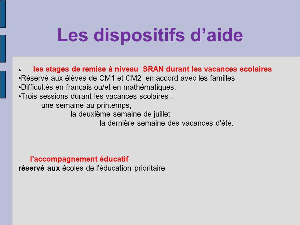 Les dispositifs daide les stages de remise à niveau SRAN durant les vacances scolaires Réservé aux élèves de CM1 et CM2 en accord avec les familles Difficultés en français ou/et en mathématiques.