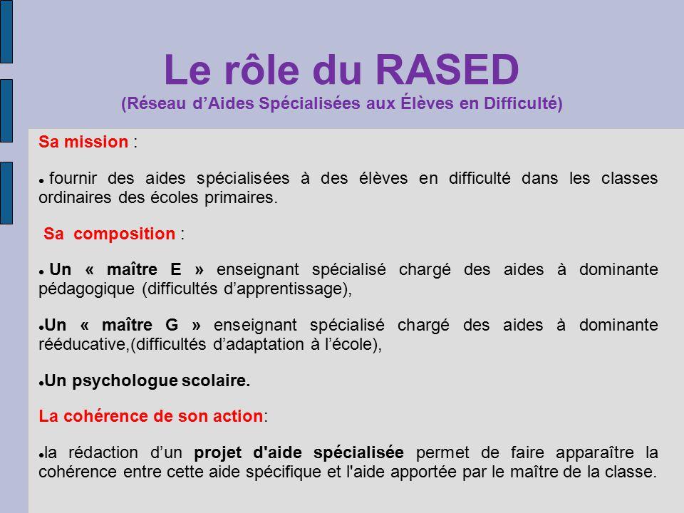 Le rôle du RASED (Réseau dAides Spécialisées aux Élèves en Difficulté) Sa mission : fournir des aides spécialisées à des élèves en difficulté dans les classes ordinaires des écoles primaires.