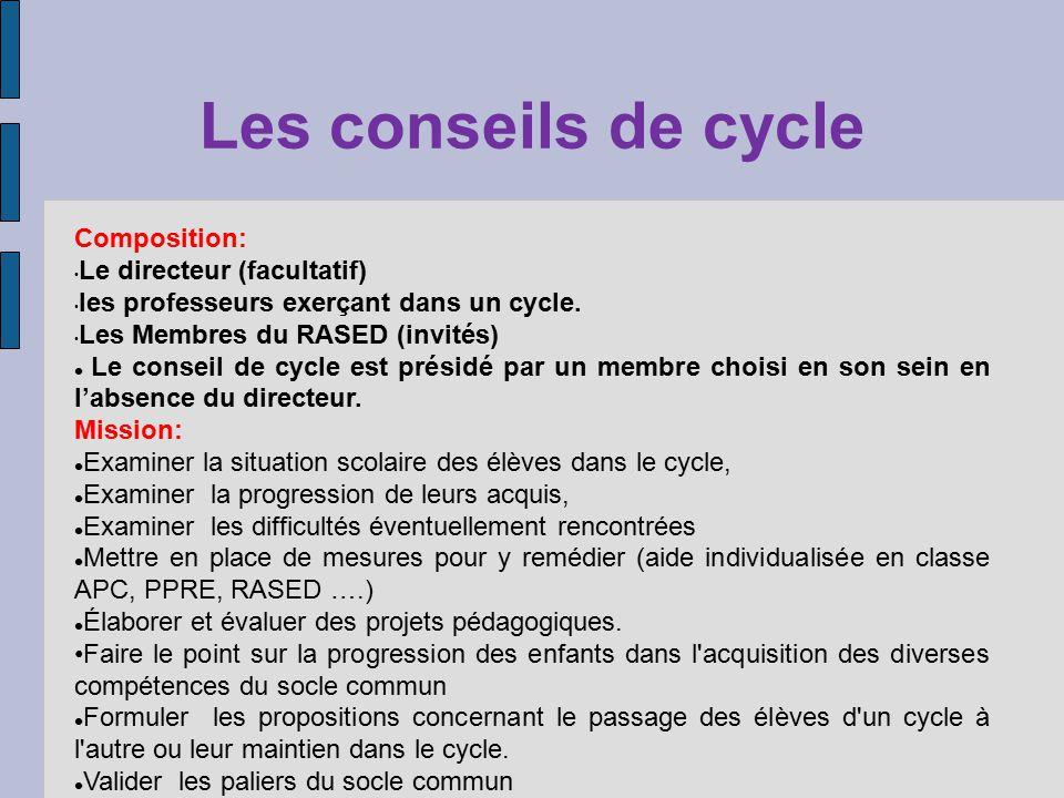 Les conseils de cycle Composition: Le directeur (facultatif) les professeurs exerçant dans un cycle. Les Membres du RASED (invités) Le conseil de cycl