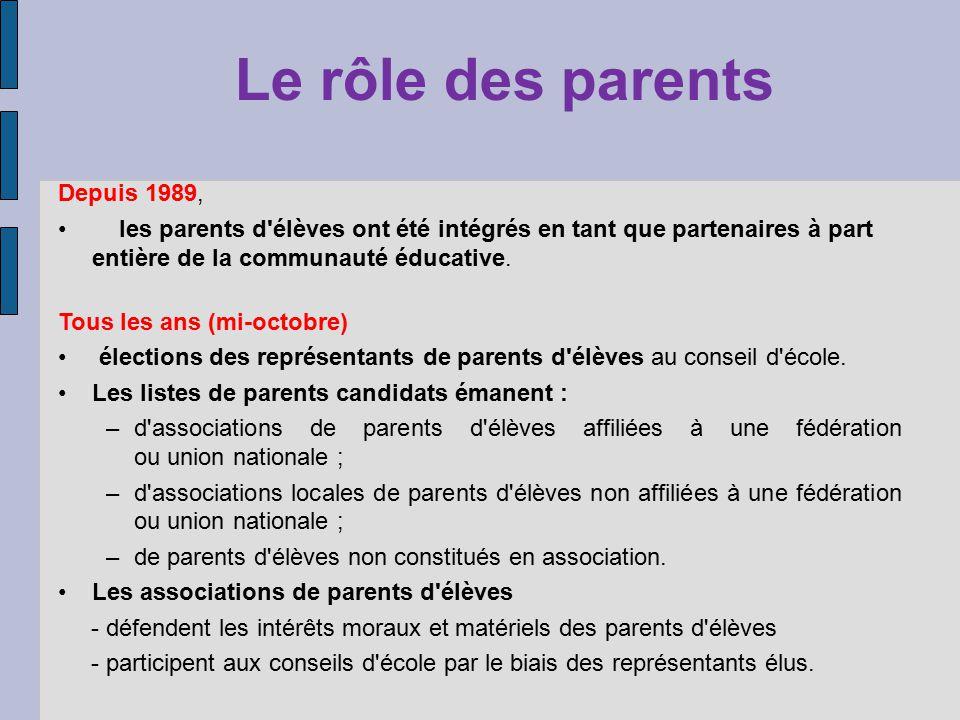 Depuis 1989, les parents d élèves ont été intégrés en tant que partenaires à part entière de la communauté éducative.