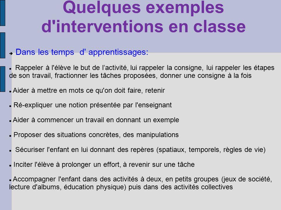 Quelques exemples d'interventions en classe Dans les temps d' apprentissages: Rappeler à l'élève le but de lactivité, lui rappeler la consigne, lui ra