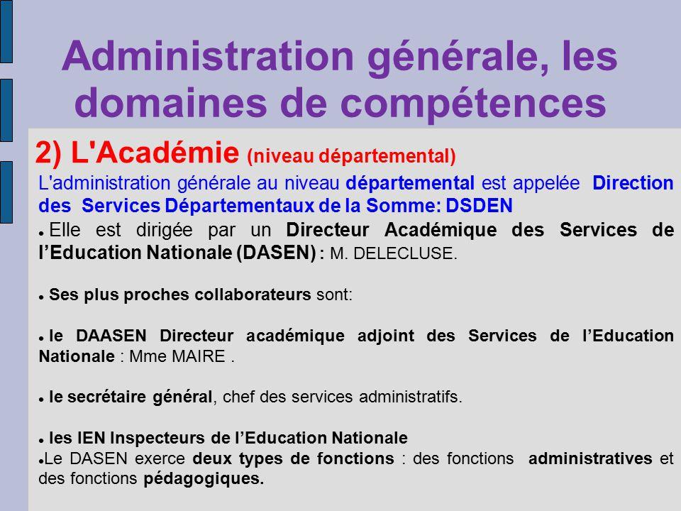 Administration générale, les domaines de compétences 2) L'Académie (niveau départemental) L'administration générale au niveau départemental est appelé