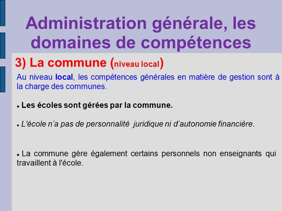 Administration générale, les domaines de compétences Au niveau local, les compétences générales en matière de gestion sont à la charge des communes. L