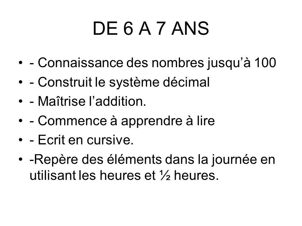 DE 6 A 7 ANS - Connaissance des nombres jusquà 100 - Construit le système décimal - Maîtrise laddition.