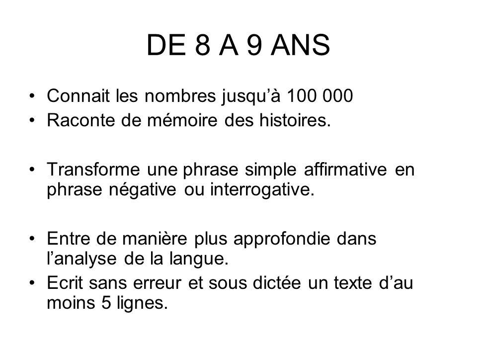 DE 8 A 9 ANS Connait les nombres jusquà 100 000 Raconte de mémoire des histoires.