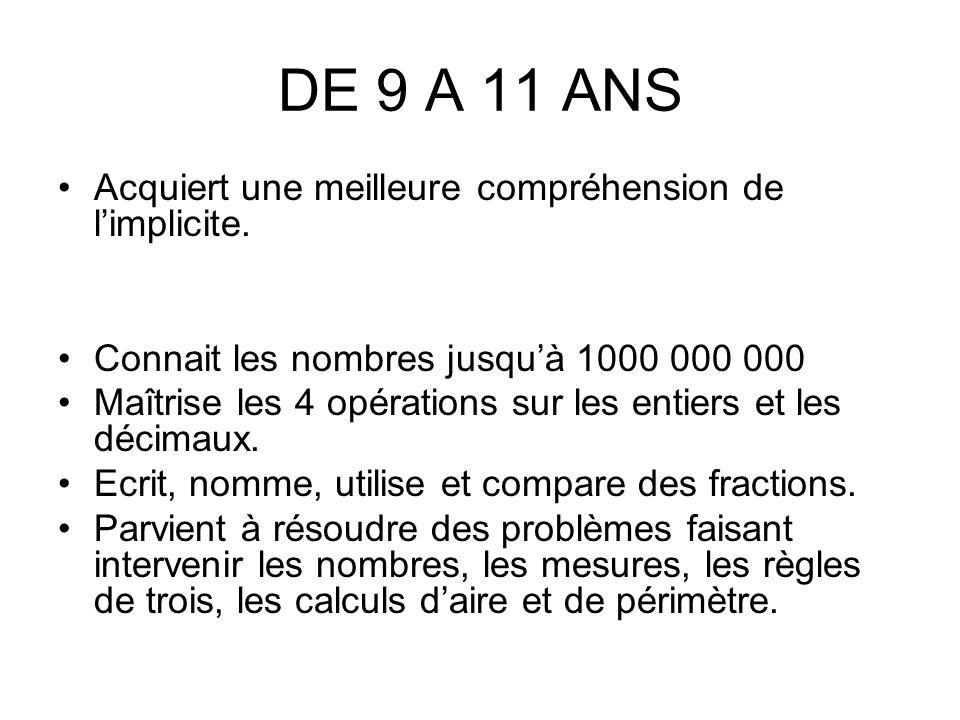 DE 9 A 11 ANS Acquiert une meilleure compréhension de limplicite.