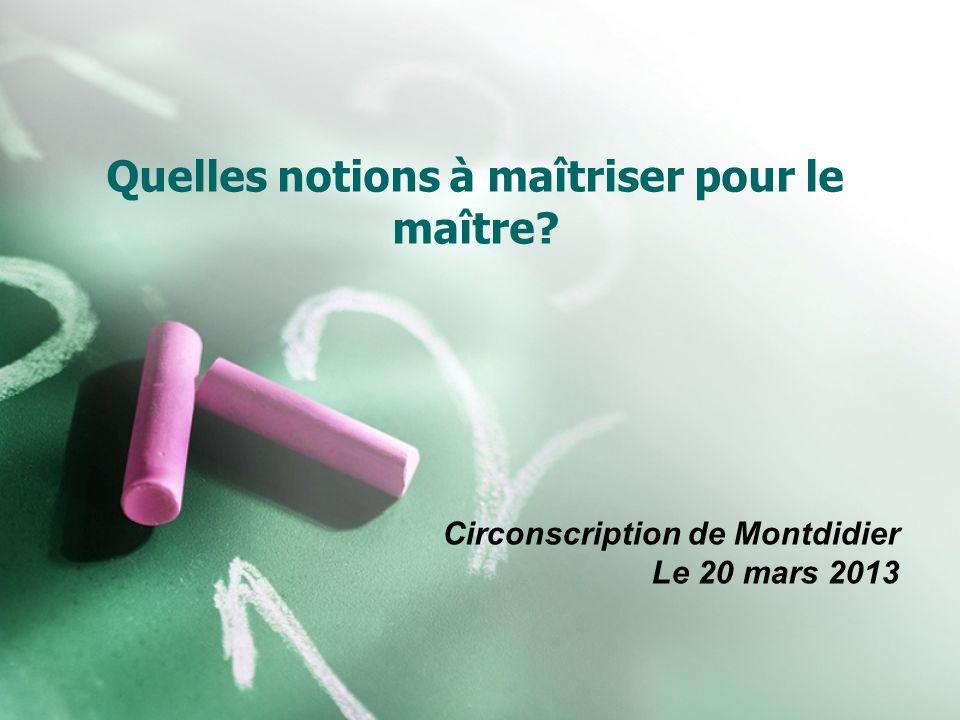 Quelles notions à maîtriser pour le maître? Circonscription de Montdidier Le 20 mars 2013