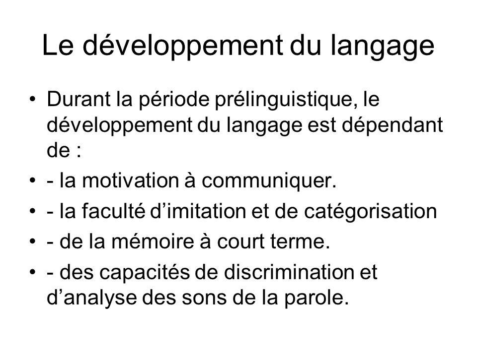 Le développement du langage Durant la période prélinguistique, le développement du langage est dépendant de : - la motivation à communiquer.