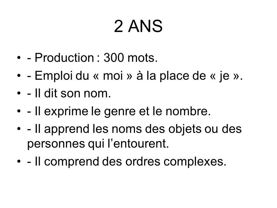 2 ANS - Production : 300 mots.- Emploi du « moi » à la place de « je ».