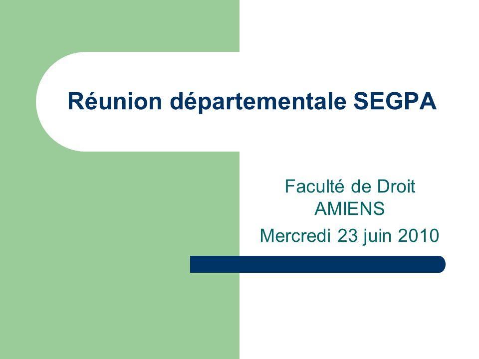 Réunion départementale SEGPA Faculté de Droit AMIENS Mercredi 23 juin 2010