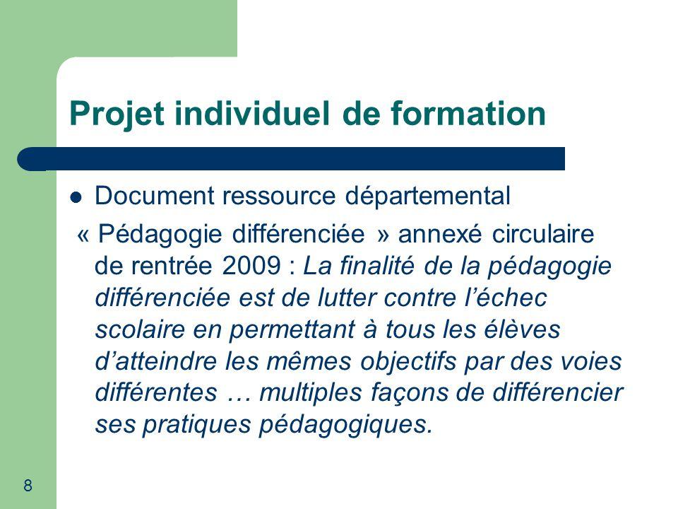 9 Projet individuel de formation Bilan 2009-2010 à partir de lanalyse de 88 P.I.F.