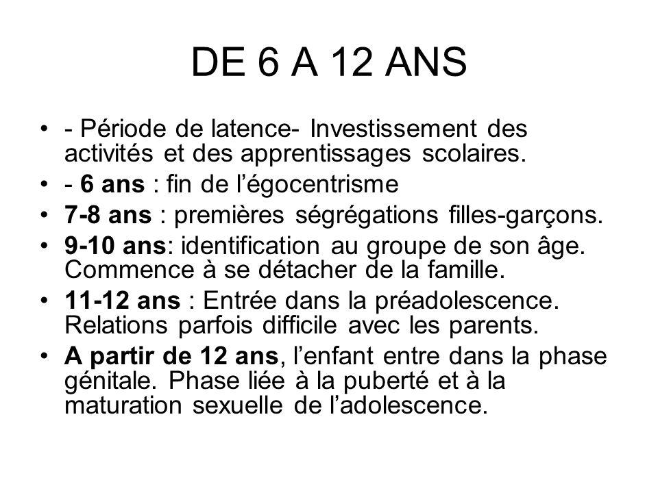 DE 6 A 12 ANS - Période de latence- Investissement des activités et des apprentissages scolaires. - 6 ans : fin de légocentrisme 7-8 ans : premières s