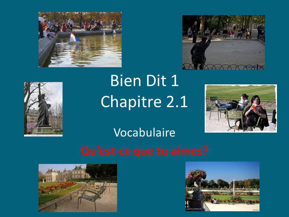 Bien Dit 1 Chapitre 2.1 Vocabulaire Quest-ce que tu aimes?