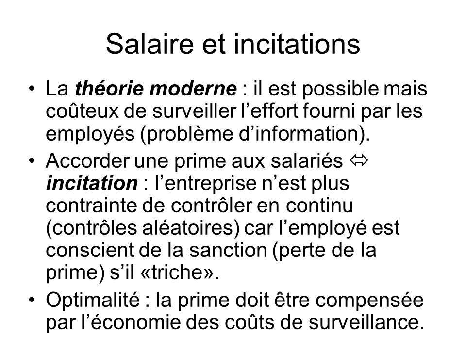 Salaire et incitations La théorie moderne : il est possible mais coûteux de surveiller leffort fourni par les employés (problème dinformation). Accord