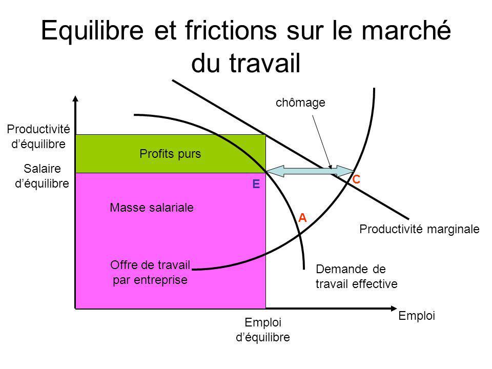 Equilibre et frictions sur le marché du travail Demande de travail effective Productivité marginale Profits purs Offre de travail par entreprise chôma