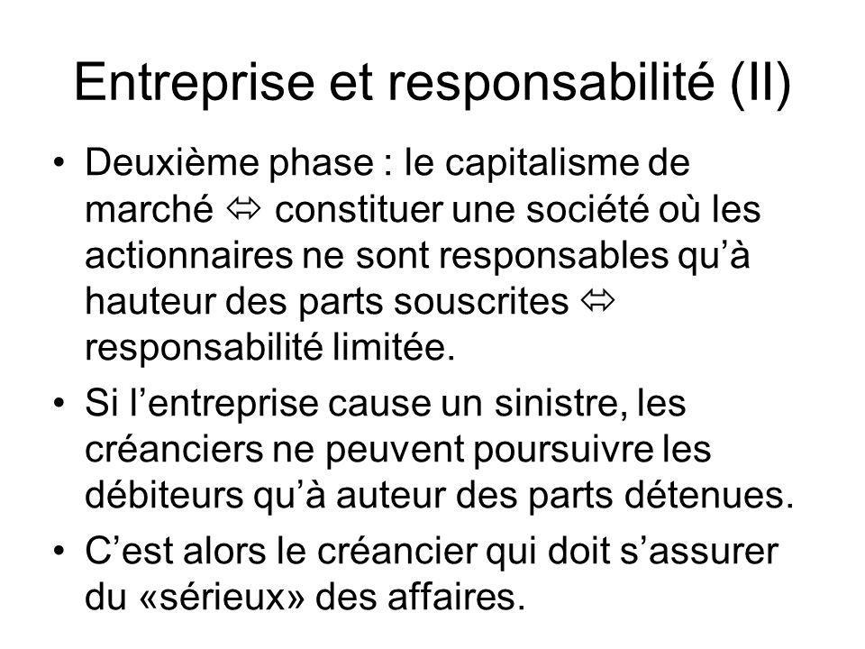 Entreprise et responsabilité (II) Deuxième phase : le capitalisme de marché constituer une société où les actionnaires ne sont responsables quà hauteu