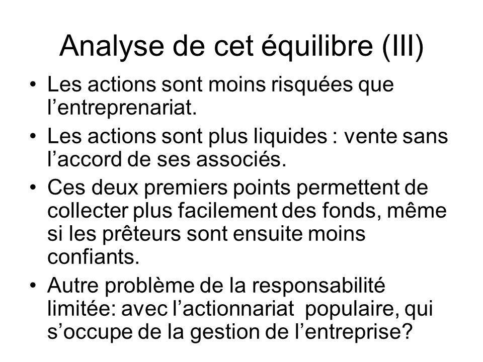 Analyse de cet équilibre (III) Les actions sont moins risquées que lentreprenariat. Les actions sont plus liquides : vente sans laccord de ses associé