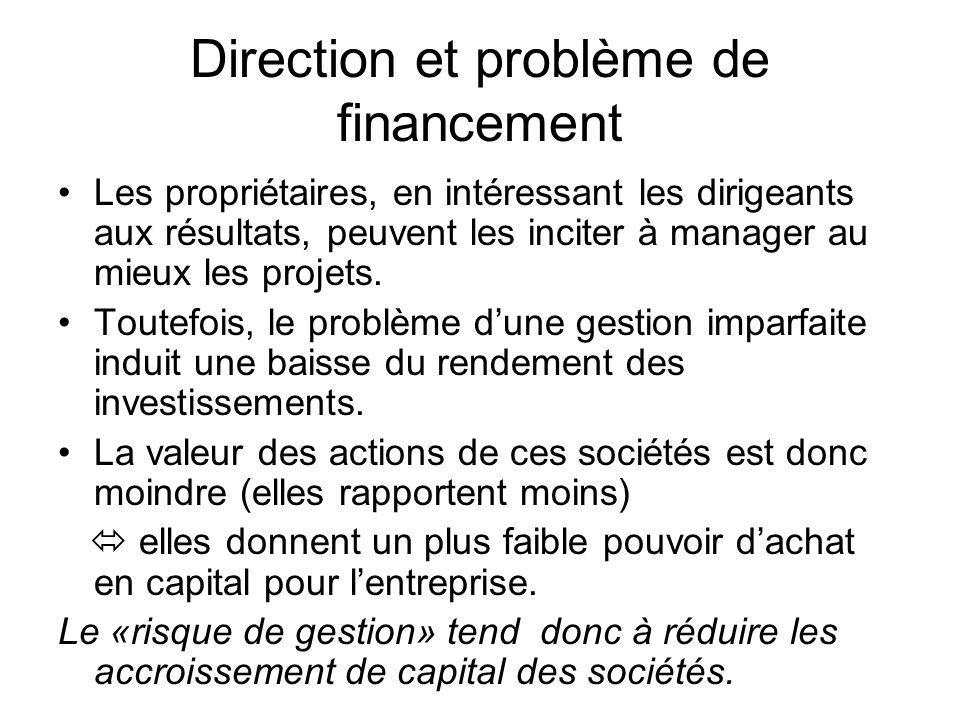 Direction et problème de financement Les propriétaires, en intéressant les dirigeants aux résultats, peuvent les inciter à manager au mieux les projet