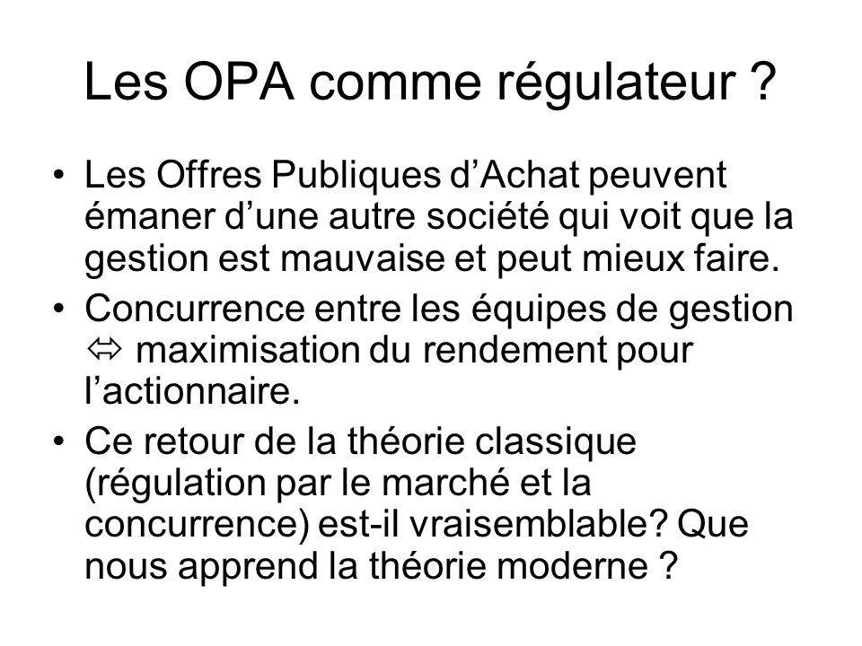 Les OPA comme régulateur ? Les Offres Publiques dAchat peuvent émaner dune autre société qui voit que la gestion est mauvaise et peut mieux faire. Con