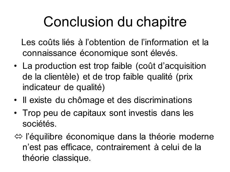 Conclusion du chapitre Les coûts liés à lobtention de linformation et la connaissance économique sont élevés. La production est trop faible (coût dacq