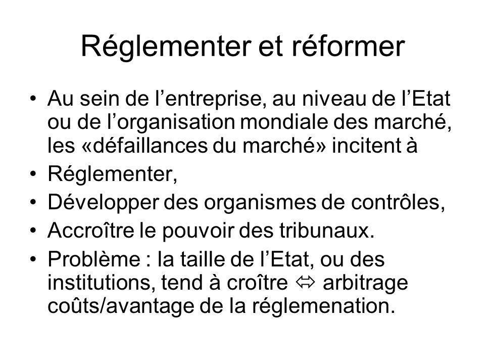 Réglementer et réformer Au sein de lentreprise, au niveau de lEtat ou de lorganisation mondiale des marché, les «défaillances du marché» incitent à Ré
