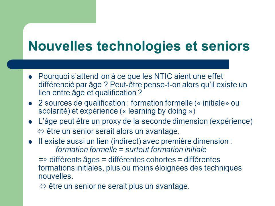 Nouvelles technologies et seniors Pourquoi sattend-on à ce que les NTIC aient une effet différencié par âge .